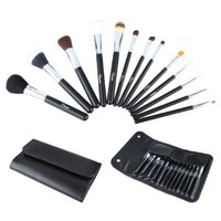 2014 New Ovonni® Classical 13pcs Professional Soft Cosmetic Makeup Brush Set Kit + Black PU Leather Bag Case