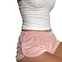 Soft Velvet Shorts Women Fitness Solid Pink Flannel Fashion Fit Mid Waist Spring Outwear Sexy Elegant Summer Clothing