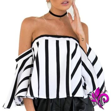 Striped Off the Shoulder Crop Top Blouses