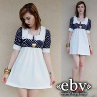 Vintage 70s Polka Dot Puff Sleeve Babydoll Empire Waist Pin Up Dress S M