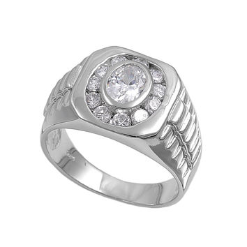 925 Sterling Silver CZ Designer Round Men's Ring 16MM
