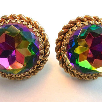 SCHIAPARELLI Watermelon Large Round Earrings, Gold Rope Trim, Exquisite Vintage