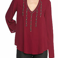 Red Camel® Cutout Neck Swing Top With Embroidery
