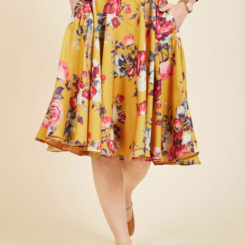 Ikebana for All A-Line Skirt in Saffron Floral | Mod Retro Vintage Skirts | ModCloth.com