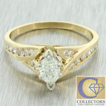 1960's Vintage Estate 14k Yellow Gold Marquise .90ctw Diamond Engagement Ring