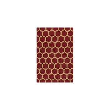 KAS Rugs Meridian Red Honeycomb Outdoor Area Rug