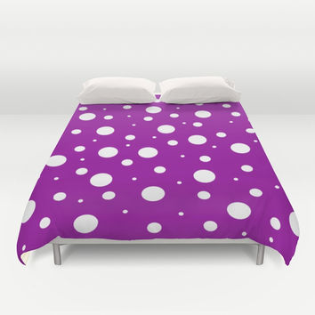 White asymetric polka dot pattern on purple, violet background, simple vintage style theme, classic Duvet Cover by Peter Reiss
