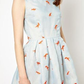 Nishe Prom Dress With Goldfish Embroidery at asos.com