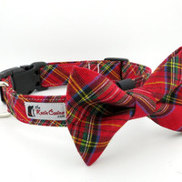 Holiday Christmas Plaid Red and Green Metallic Plaid Dog Collar (Bow Tie Sold Separately)