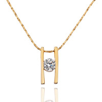 Initial H Crystal Gold Plated Necklace