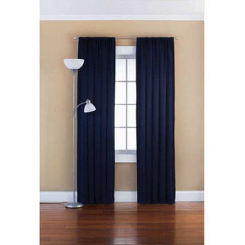 "Mainstays Solid Room Darkening Curtain Panel Navy 54""X63"""