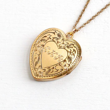 Vintage Gold Filled Floral Heart Initial Locket Necklace- 1940s 1950s WWII Era Sweetheart Etched Flower Jewelry Monogrammed EKR