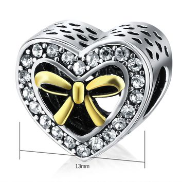 V.YA Valentine's Day Beads Charms Fits for Original Pandora Chain Necklace Bracelets for Women Men DIY Beads for Jewelry Making