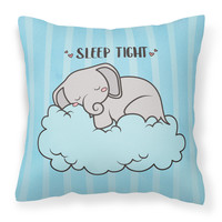Nursery Sleep Tight Elephant Fabric Decorative Pillow BB7475PW1818