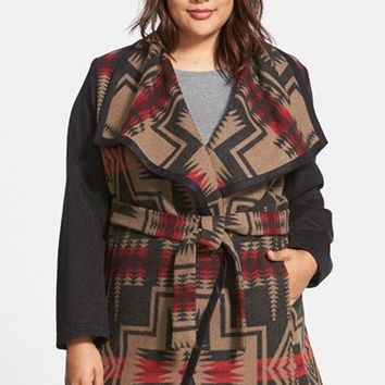 Plus Size Women's Pendleton Jacquard Wool Blanket Wrap Coat ,