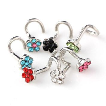 DCK9M2 30PCS Nose Ring Fashion Flower Body Jewelry Nose Stud Stainless Surgical Steel Nose Piercing Mix Color Crystal Stud