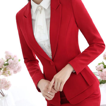 Formal Elegant Red Blazers Women Outerwear Jackets Coat Slim Fashion Long Sleeve Ladies Business Office Uniform Style Blazer