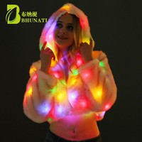New 2018 Christmas Multicolor Clothes Hooded Women LED Luminous Faux Fur Coat Lady Bar dance show nightclub Clothes JFW182