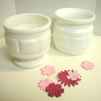 Gorgeous Vintage White Milk Glass Planter Pair by AuntLizzysAttic