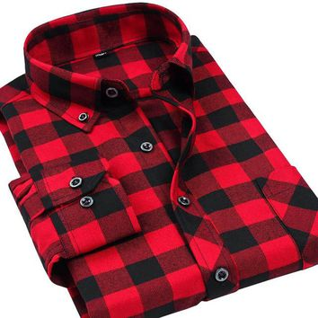 Flannel Plaid Slim Fit Shirts