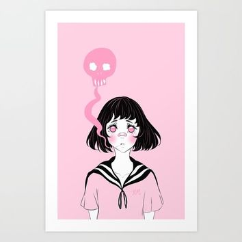 Pink Death Art Print by Hennietai