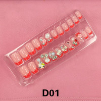 24PCS metallic 3D carved Manicure tablets False nail Flower Pearl diamond Bride Manicure tablets nail stickers bradawl nail painting D01-D08