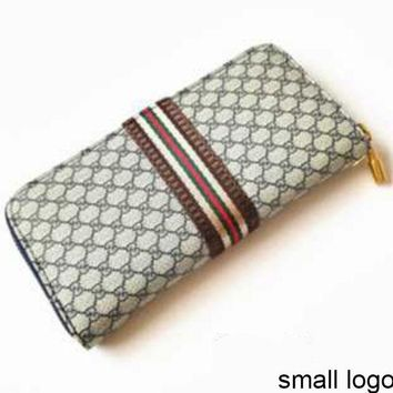 Women's Long Wallet Double G Letter Plaid Zip Clutch Blue small G