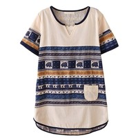 Bohemian Elephant Striped Short-Sleeve T Shirt