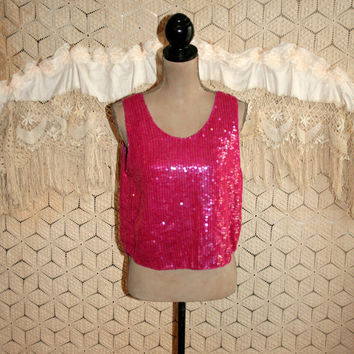 Fuchsia Raspberry Pink Silk Sequin Tank Top Party Club Cocktail Blouse Low Scoop Neck Sleeveless Shimmery Sparkly Medium Womens Clothing