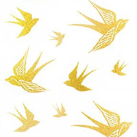 "Latest hot selling and fashionable tattoo sticker product dimension 6.69""""x3.74"" flying swallow Golden gold realistic temporary tattoo stickers"