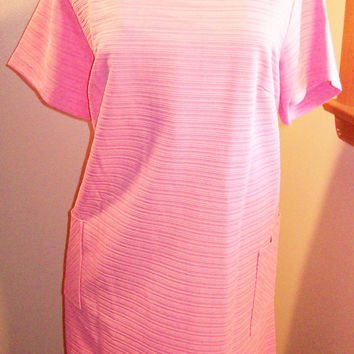 Vintage 60s 70s Amazing Pastel Pink Ribbed Material Cocktail Dress / Mod Scooter Girl / Size 22 1/2 Extra Large XL