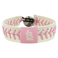 Gamewear MLB Leather Wrist Band - St. Louis Cardinals - Pink Style