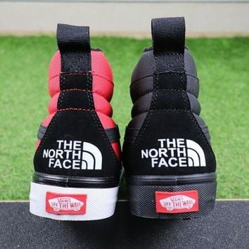 DCC3W The North Face TNF x Vans MTE Sk8-Hi Black Red Hiking Shoes Sneaker - 2 Color