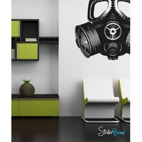 "Stickerbrand© Military Vinyl Wall Art Gas Mask Wall Decal Sticker - Black, 40"" x 42"". Easy to Apply & Removable. Includes FREE Application Squeegee"