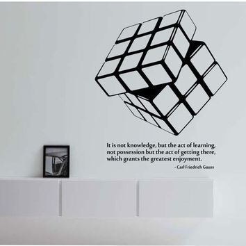Rubik's Cube  WITH QUOTE Vinyl Wall Decal Sticker Art Decor Bedroom Design Mural interior design Science Education Art educational