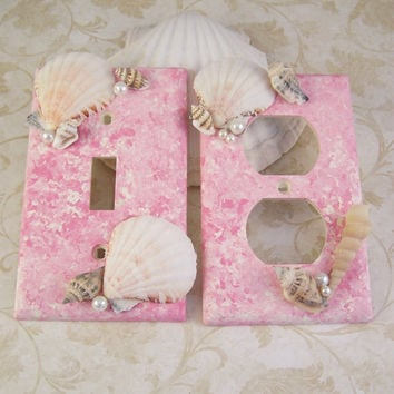 Pink Seashell Switch Plate Covers, Pink Marbled Seashell Switchplates, Seashell Beach Decor, Bedroom Bathroom Home Decor Decorative Lighting