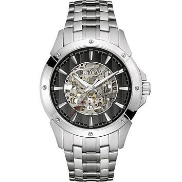 Bulova Mens Automatic Dress Watch - Skeleton Dial - Steel Case & Bracelet