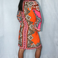 "ICE ITALIAN ""MOD SQUAD"" SEXY ORANGE PINK PAISLEY JERSEY STRETCH KNIT DRESS $138"