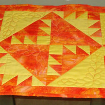 Quilted Table Runner Orange and yellow Kansas Troubles