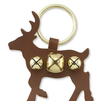 Jingle Bell Brown Reindeer Door Hanger