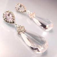teardrop shape swarovski clear crystal with cubic by designbykara