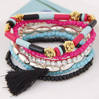 Bohemian Ethnic Multilayers Flower Beads Rhinestone Tassel Charms Bracelets