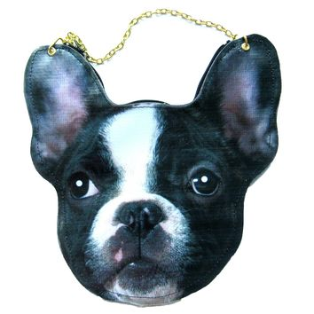 French Bulldog Puppy Dog Head Shaped Vinyl Animal Themed Cross Shoulder Bag