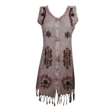 Mogul Womens Stonewashed Sleeveless Dress Button Front Embroidered Tassel Hem Boho Chic Tank Dresses - Walmart.com