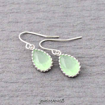 Aqua Earrings,  bridesmaid gifts,Wedding jewelry, green, Silver Earrings, Drop, Dangle, Gemstone, mint, green, bezel