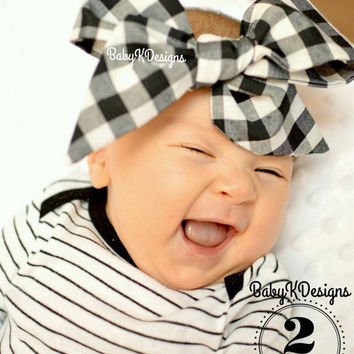 Baby Headwrap. Gingham Baby Head Wrap. Black White Red Checkered Cotton Headwrap. Newborn Headband. Baby Girl Bow Headband. Baby Photoprop