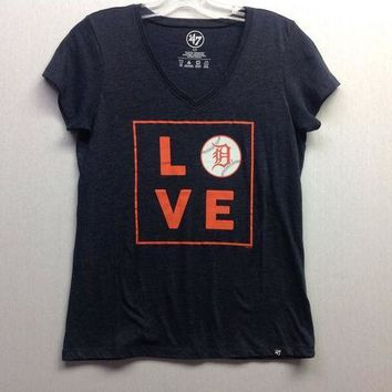ESBON MLB Detroit Tigers Women's Love Club V-Neck T-Shirt