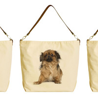 Dog Various Breeds Beige Printed Canvas Tote Bag with Leather Strap WAS_29