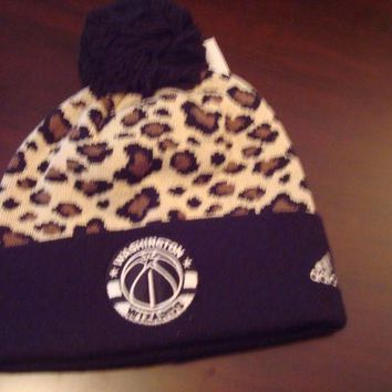 DCCK2JE WASHINGTON WIZARDS ADIDAS POM POM TOBOGGAN KNIT RETRO BEANIE SKULL HAT CAP