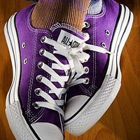 """Converse"" Stylish Classic Unisex Canvas Flats Sport Shoes Sneakers Purple I"